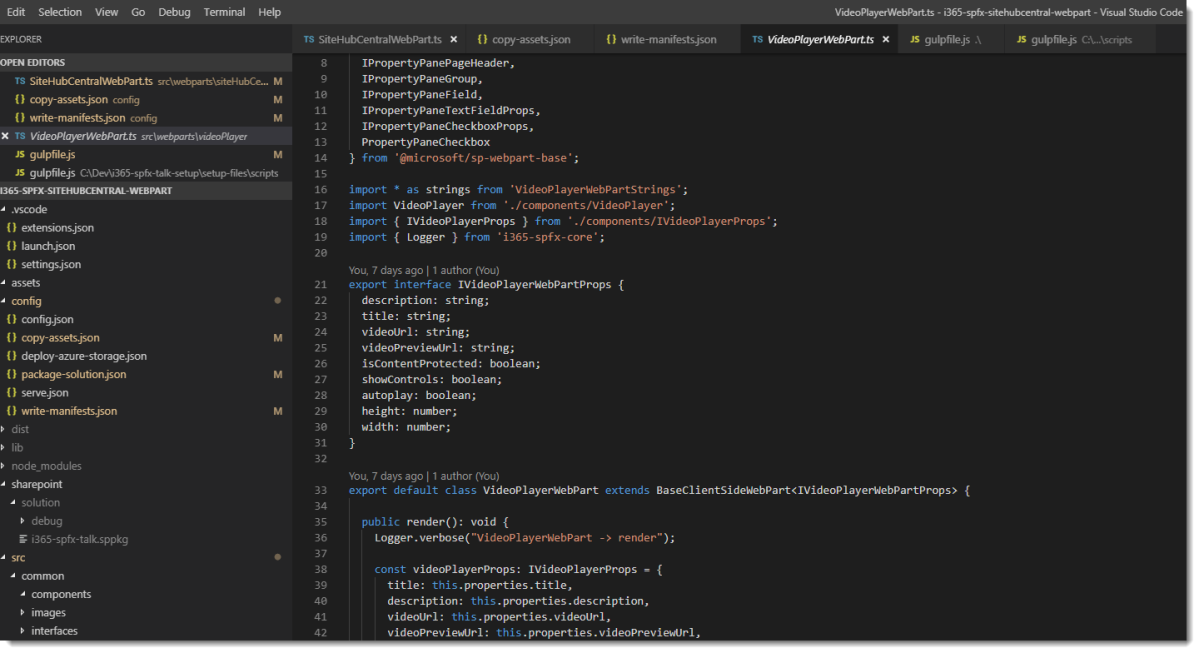 Displaying an image of Visual Studio code with a SharePoint Framework solution open.
